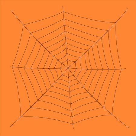 Creepy spider web over orange background. Halloween card Ilustração