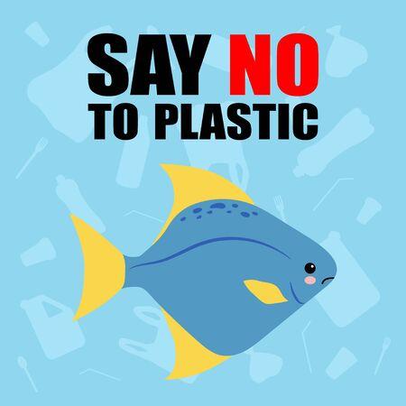 Contaminación plástica del mar: deje de usar plástico Dígale no al plástico. Lindo pez triste. estilo de dibujos animados kawaii