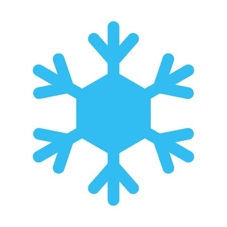 Snowflake sign. Blue Snowflake icon isolated on white background. Snow flake silhouette. Symbol of snow, holiday, cold weather, frost.