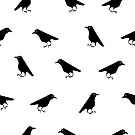 Seamless pattern of cute raven crow vector on white background. Funny illustration