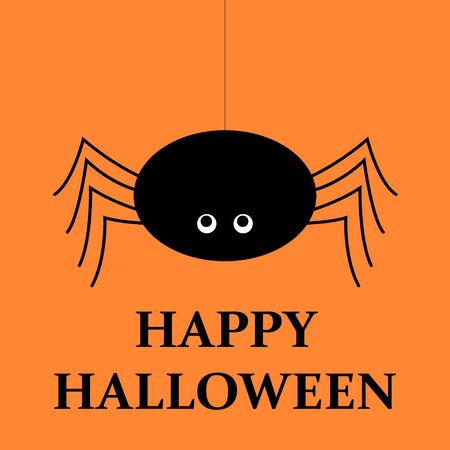 Halloween vector orange background. Spider, halloween symbols.