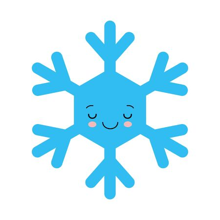 Cute snowflake in cartoon style. Adorable snow flakes smiley characters. Funny doodles. Иллюстрация