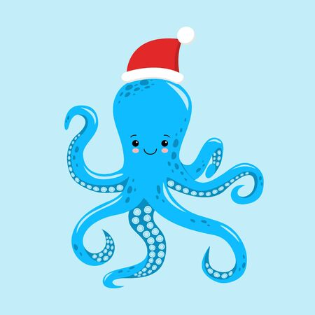 Octopus cartoon character. A Cute octopus wearing Santa Claus hat for Merry Christmas and Happy New Year invitation card. Illusztráció