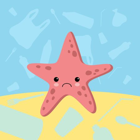 Stop plastic pollution banner. Vector image of cartoon style with sad crying starfish. Ecology concept illustration. Say No To Plastic lettering.