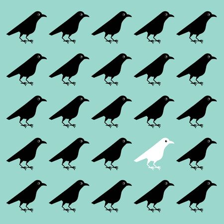 Vector illustration of white crow among black crows, unlike others, the interest of neighbors, outstanding unusual personality Illustration