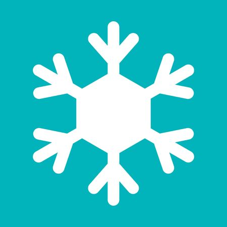 Snowflake sign. White Snowflake icon isolated on blue background. Snow flake silhouette. Symbol of snow, holiday, cold weather, frost. Winter design element Vector illustration