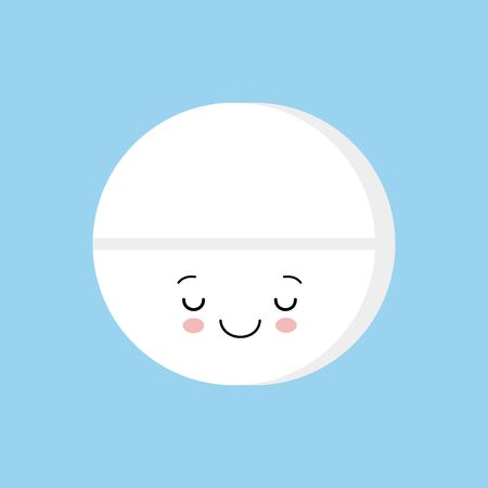 Cute happy smiling sleeping medicine pill tablet. Vector flat cartoon character illustration icon design. Isolated on blue background. Kawaii style