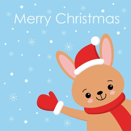 Cute brown rabbit card. Santa Claus hat on bunny vector illustration. New Year square banner with smiling bunny. Winter holiday package design. Flat forest animal. Christmas rabbit postcard kawaii style