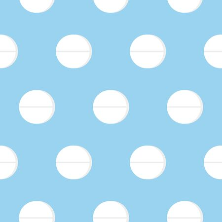 Vector seamless pattern with medical pills on blue background. Flat style