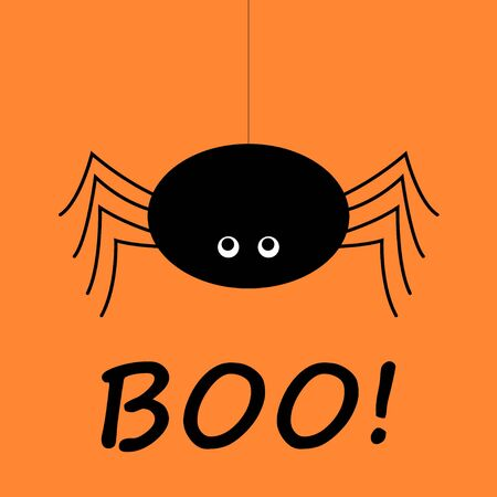 Cute spider and webs over orange background with Boo text. Happy Halloween Kawaii card Иллюстрация