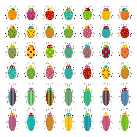 Big vector set of cute cartoon insects. Different beetles on an isolated white background. Funny illustration for children Фото со стока - 130775438