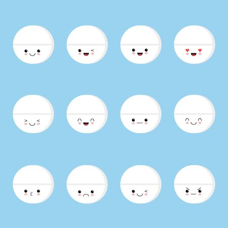 Cute pills smiling. Happy pills and pills with emotions and face on a blue background. Vector image kawaii style Illustration