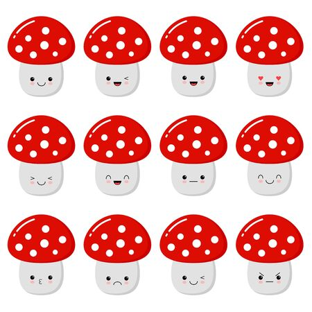 Vector set of cartoon images of funny evil amanita-mushrooms with red-white hats and white stripes, with different emotions on a white background. Forest, poisonous mushroom, nature.