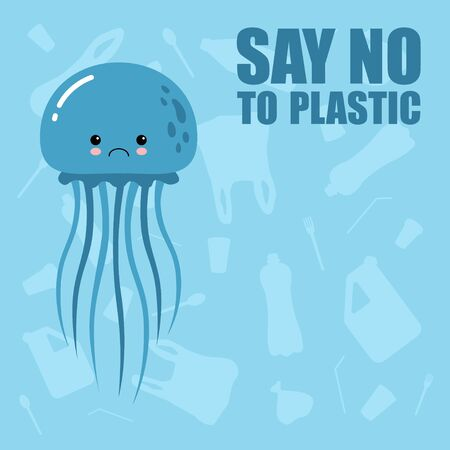 No to plastic. Stop ocean plastic pollution. Recycling plastic. Ecological problem and catastrophe. Say no to plastic.