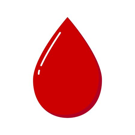 Blood drop isolated on white background. Vector illustration. Flat style Stock Illustratie