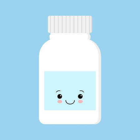 Cute happy smiling medicine pill capsule bottle. Vector flat cartoon character illustration icon design. Isolated on blue background. Tablet, pill, capsule antibiotic , healthcare, drug, medical concept