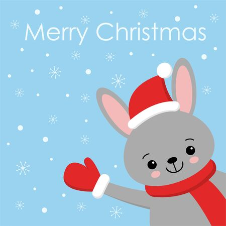 Cute gray rabbit card. Santa Claus hat on bunny vector illustration. New Year square banner with smiling bunny. Winter holiday package design. Flat forest animal. Christmas rabbit postcard kawaii style
