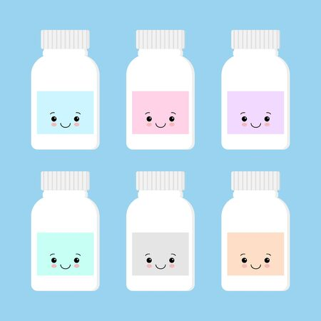 Cute bottle of medicine character vector. blue background.