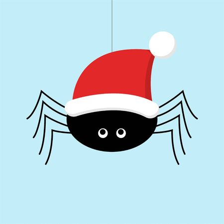 Christmas greeting card. Vector Illustration of a cute black spider in a santa hat sitting on a web. Light blue background