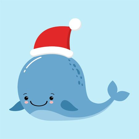 Funny and cute big whale wearing Santa s hat for Christmas and smiling - vector.