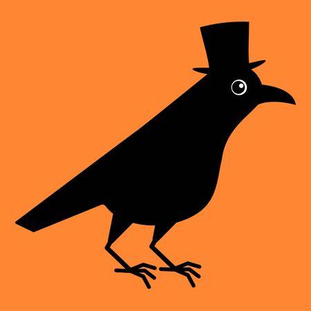 Gentleman crow, blackbird with top hat. Cute raven illustration on orange blackground. Illustration