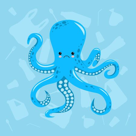 No to plastic. Stop ocean plastic pollution. Recycling plastic. Ecological problem and catastrophe. Say no to plastic. Creative vector template poster, banner, flyer, social advertisement, Cute sad octopus.