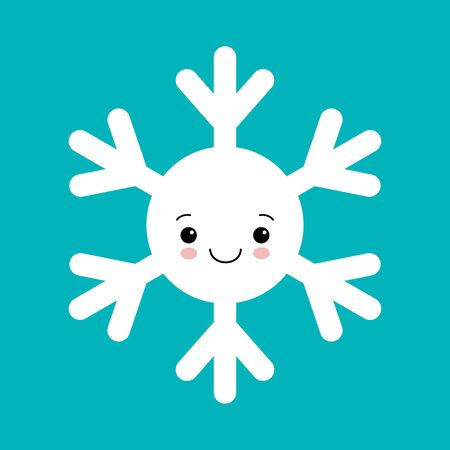 Cute white snowflake in cartoon style on blue background. Adorable snow flakes smiley characters. Funny christmas doodles. Иллюстрация