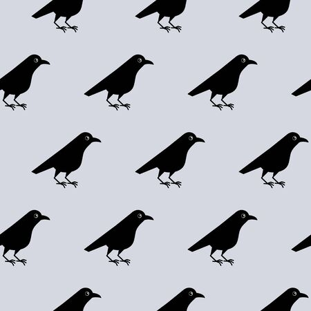 Seamless pattern of cute raven crow vector on gray background. Funny illustration Иллюстрация