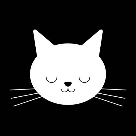 White cartoon cat or kitten face. Flat, vector design isolated on black background.