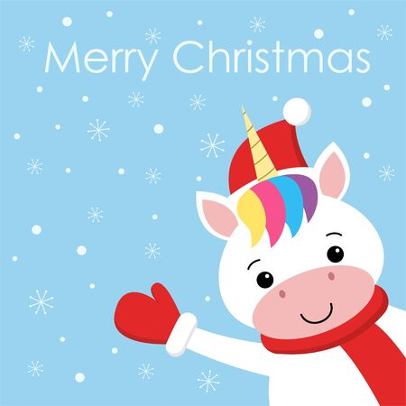 Cute New Year or Christmas greeting card with cute unicorn, Santa hat, scarf and snow on blue background. Cartoon kawaii character.