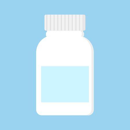 Blank medicine bottle isolated on blue background, illustration.