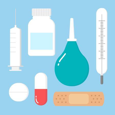 Medicine, pharmacy, hospital set of drugs with labels. Medication, pharmaceutics concept.