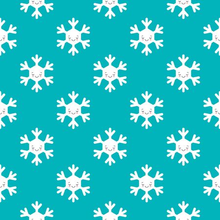 Seamless pattern of winter snowflakes, vector background. Repeated texture, surface, wrapping paper. Cute white sleeping snowflakes for packaging, cards, banners design. Kawaii style Иллюстрация