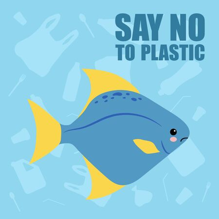 Plastic Sea Pollution - Stop Using Plastic Can ilustrate ecology topics about oceans and how fish and sea creatures are endangered by plastic pollution.