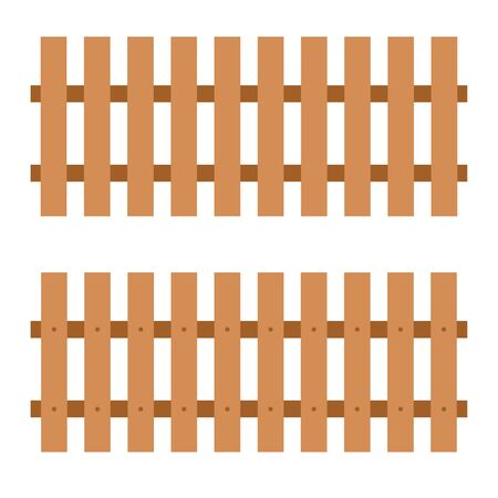 Wooden fence on white background. wooden fence set.