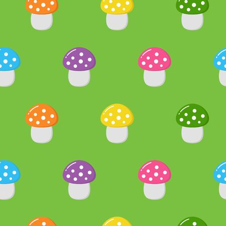 Seamless pattern with colorful cute mushrooms. Autumn background. Perfect for fabric,textile. Creative Vector background