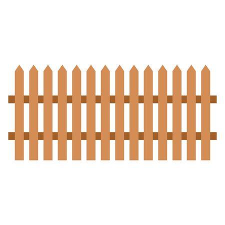 Clôture en bois sur fond blanc - illustration vectorielle.