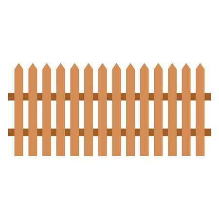 Wooden fence on white background - vector illustration.