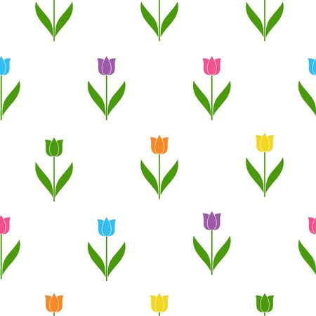 Cute seamless floral pattern with tulips on white background. Vector illustration