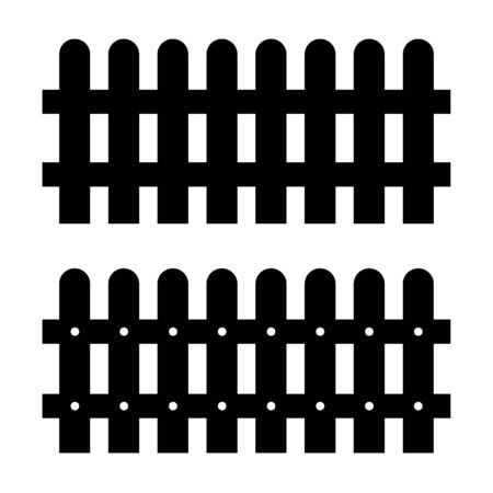 Black color silhouettes of fences on white background. Simple vector icons.