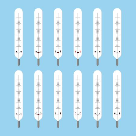 Cute cartoon thermometer with different emotions. Vector illustration set. Kawaii style