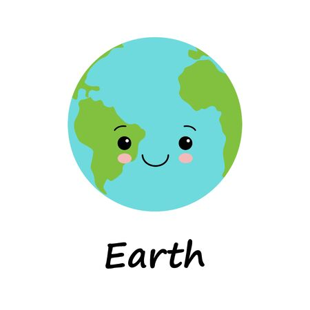 creative concept planet Earth globe with a sweet cute face smiling for humanity earth day cartoon modern flat design style. save the world illustration vector with green light blue colors