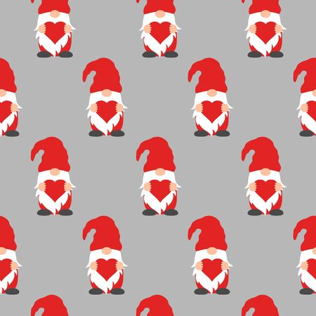 Seamless pattern with cute Valentine gnome holding heart. Funny background for holiday decorations, greetings,