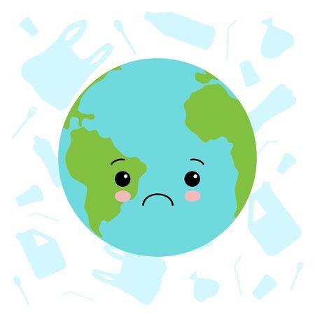 No more plastic sad earth cartoon vector illustration kawaii style