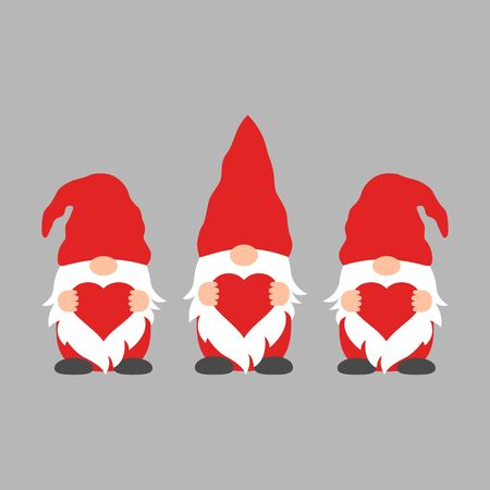 Cute Gnomes with hearts in red hats for Valentine s day cards, gifts, t-shirts, mugs, stickers, scrapbooking crafts and design. Standard-Bild - 138134990