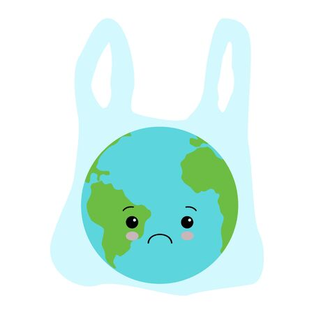Earth in a plastic bag. Ecology conversation. Eco catastrophe. Segregation and recycling. F Çizim