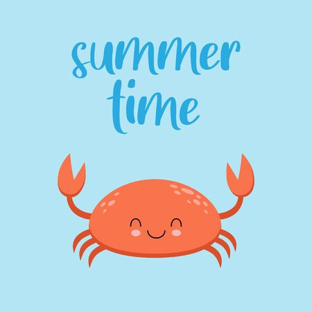 Cute crab kawaii illustration vector. Summer time card
