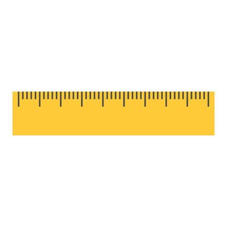 Yellow ruler icon. Flat isolated illustration of rule vector icon for any web design. Flat style Vetores