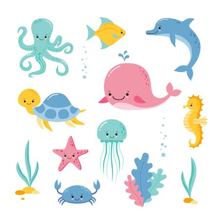 Baby sea creatures and animals vector icons isolated on white Underwater creatures and animals set. Vector cartoon Illustration. 向量圖像