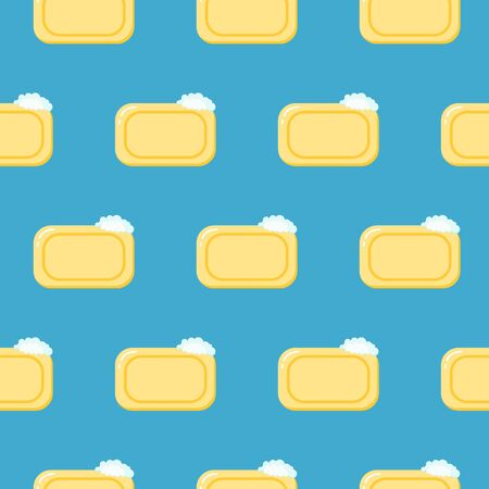 Seamless pattern pieces of solid yellow soap. Color illustration on a blue background.  イラスト・ベクター素材